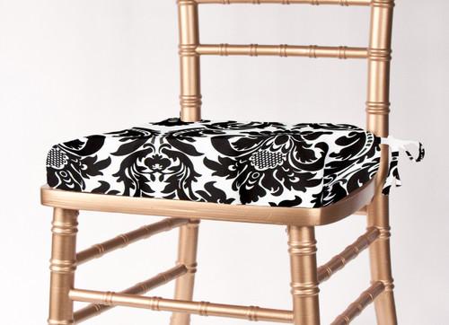 Alterio Black & White Damask Chiavari Chair Cushion Cover (SS-SCC-ALTERIO) - 20+Free Ship