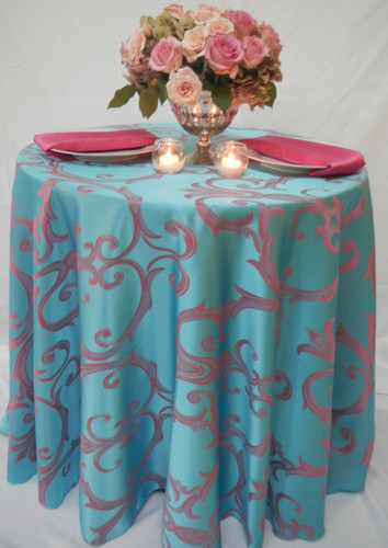 Chopin Damask Tablecloth Linen-Turquoise Pink - 10+Sizes-10+Colors-20+Free Ship