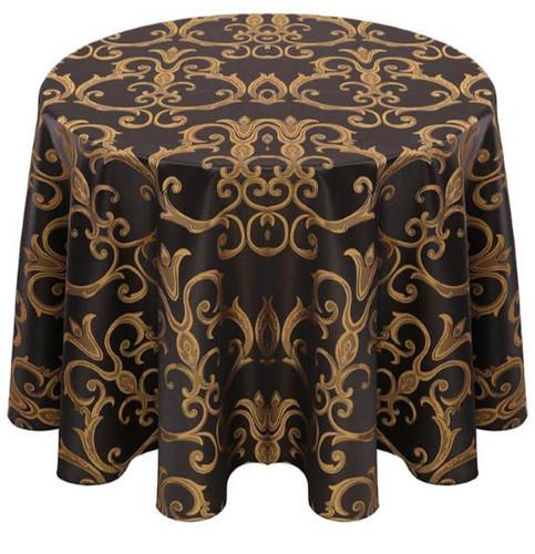 Chopin Damask Tablecloth Linen-Black Gold