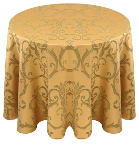 Chopin Damask Tablecloth Linen-Gold Sage