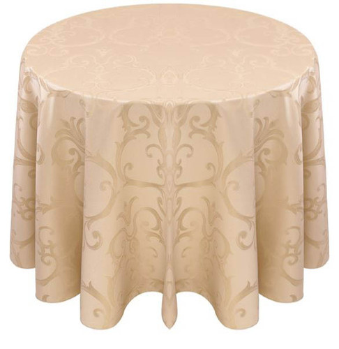 Chopin Damask Tablecloth Linen-Ivory