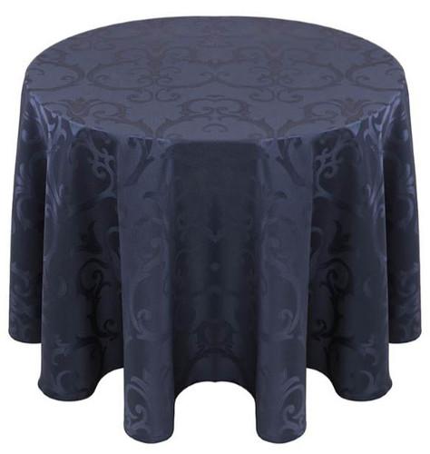 Chopin Damask Tablecloth Linen-Navy