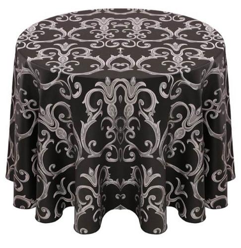 Chopin Damask Tablecloth Linen-Silver Black