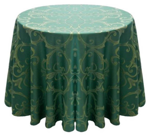 Chopin Damask Tablecloth Linen-Turquoise Gold