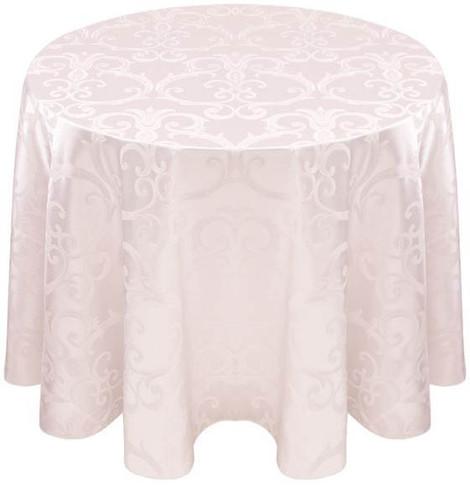 Chopin Damask Tablecloth Linen-White