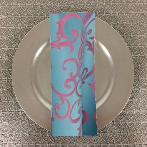 Dozen (12-pack) Chopin Damask Table Napkins-Turquoise Pink - 20+Free Ship