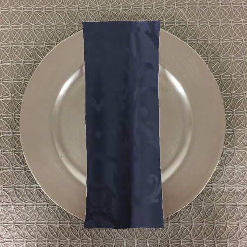 Dozen (12-pack) Chopin Damask Table Napkins-Navy