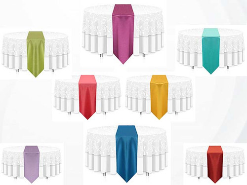 """12""""W  Faux Dupioni Polyester Based Table Runner Linen - 4 Sizes-20+Free Ship 30+ Colors"""