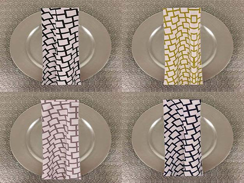Dozen (12-pack) Liberty Square Geometric Print Polyester Table Napkins - 20+Free Ship