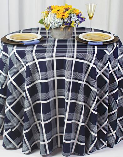 Nantucket Plaid Geometric Print Polyester Tablecloth Linen - 10+Sizes-20+Free Ship