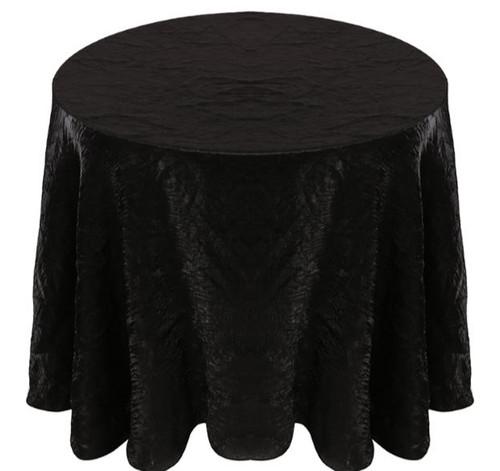 Shimmer Crush Fabric Tablecloth Linen-Black