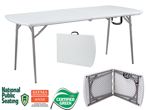 """Fold-In-Half 30""""W x 72""""L (6 ft) Plastic Folding Table By National Public Seating - Free Shipping - 10Warranty"""