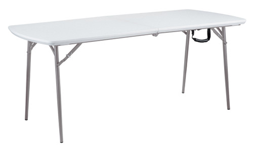 "Fold-In-Half 30""W x 72""L (6 ft) Plastic Folding Table By National Public Seating"
