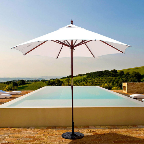 Galtech 9-ft. Wood Umbrella With 2 Pulley Lift, Model 132-232 - Free Shipping - 10+ Colors