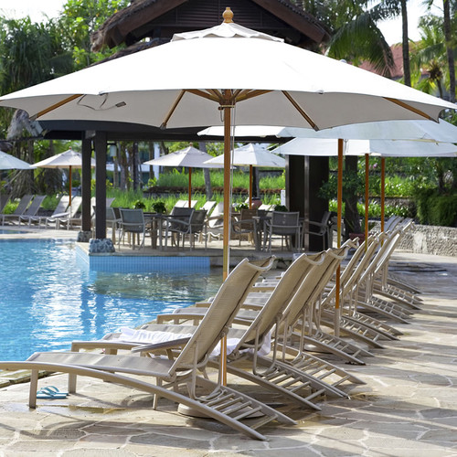 Galtech 11-ft. Wood Umbrella With Brass Trim 4 Pulley Lift, Model 183 - Free Shipping - 10+ Colors