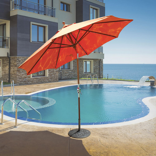 Galtech 9-ft. Teak Wood Umbrella With Rotational Tilt Crank Lift, Model 537 - Free Shipping - 10+ Colors