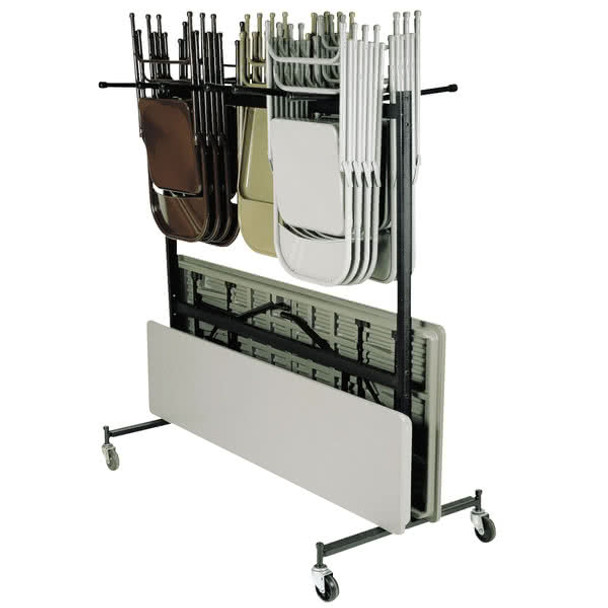 Hanging Folding Chair And Table Storage And Transport Cart