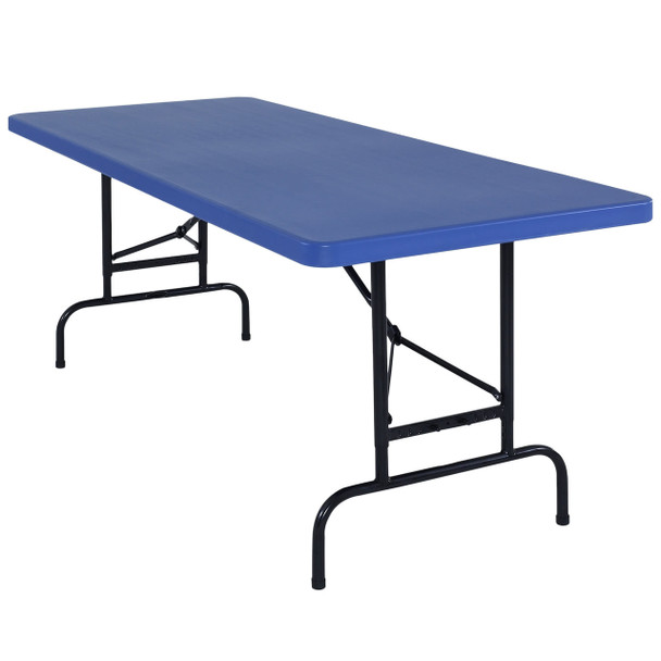 "Body Builder 30""W x 72""L (6 ft) Blue  Adjustable Height Plastic Folding Table By National Public Seating, Model BTA-3072-04"