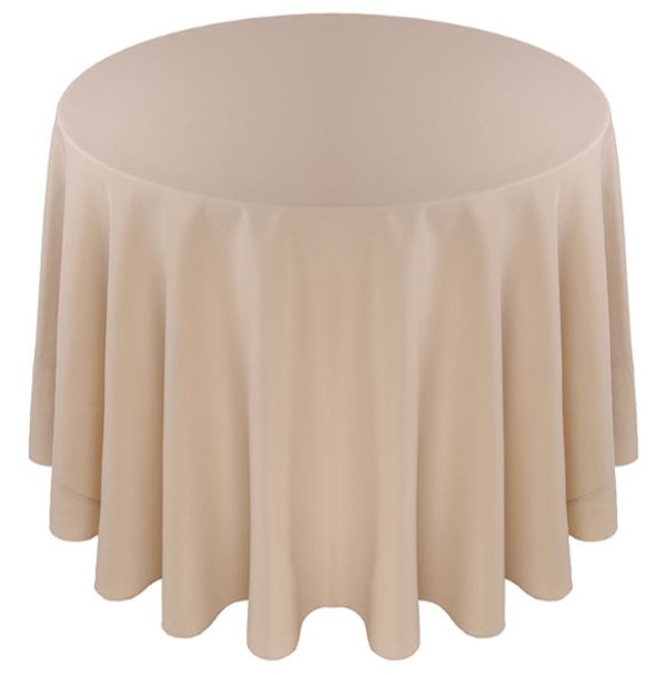 ... Solid Polyester Tablecloth Linen Beige ...