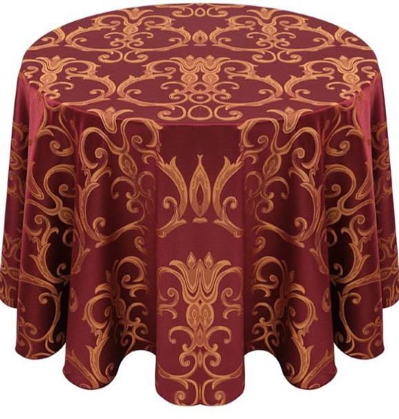Chopin Damask Tablecloth Linen-Burgundy Gold