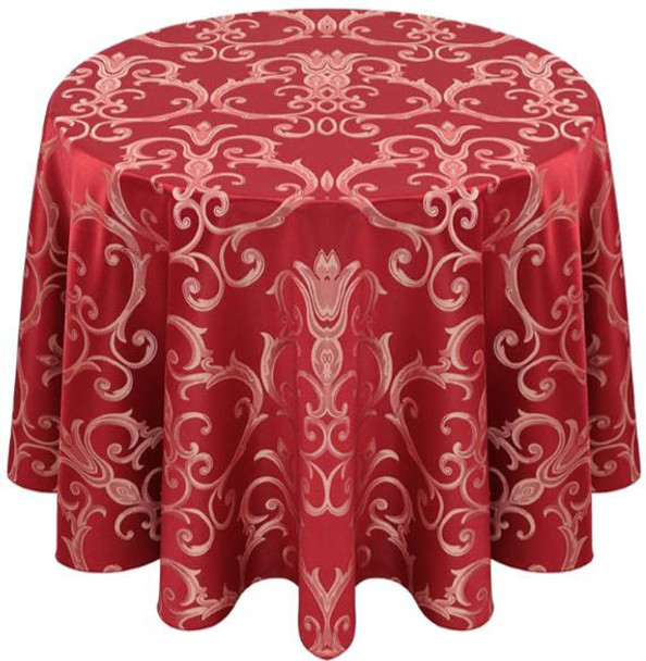 Chopin Damask Tablecloth Linen-Crimson