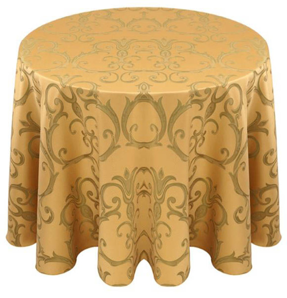 Chopin Damask Tablecloth Linen-Gold Sage