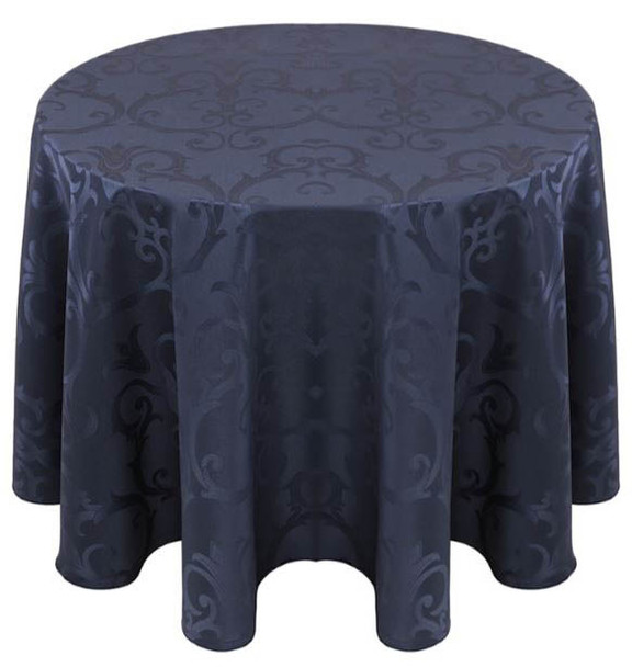 Chopin Damask Tablecloth Linen-Navy