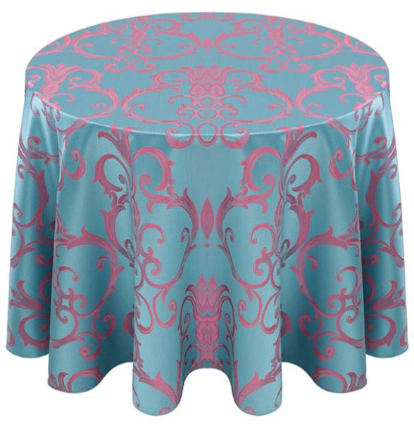Chopin Damask Tablecloth Linen-Turquoise Pink