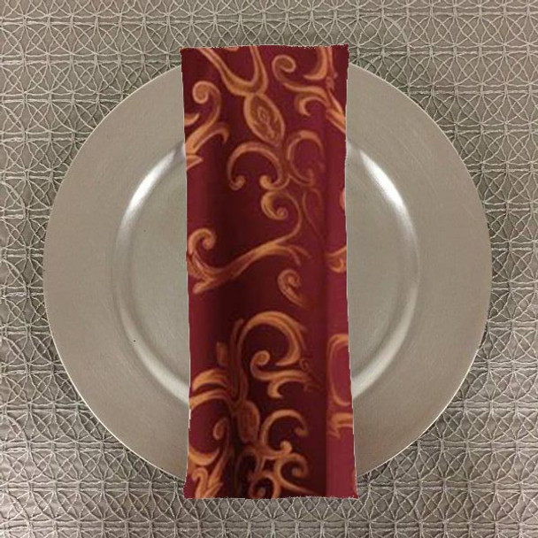 Dozen (12-pack) Chopin Damask Table Napkins-Burgundy Gold