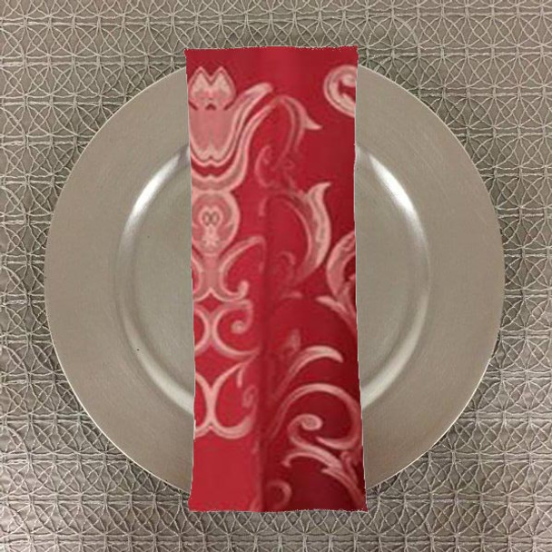 Dozen (12-pack) Chopin Damask Table Napkins-Crimson
