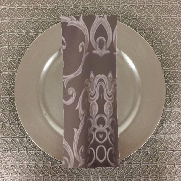 Dozen (12-pack) Chopin Damask Table Napkins-Silver