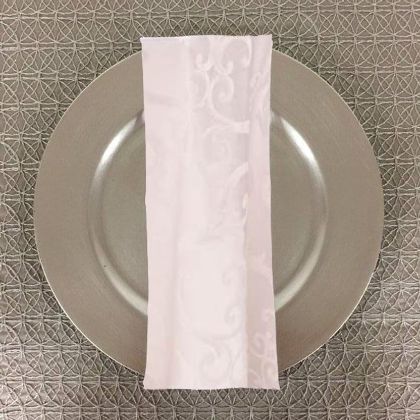 Dozen (12-pack) Chopin Damask Table Napkins-White