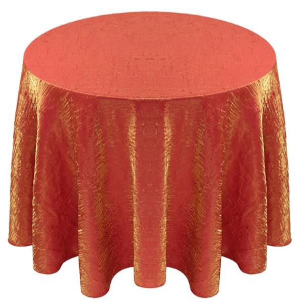 Shimmer Crush Fabric Tablecloth Linen-Orange Gold