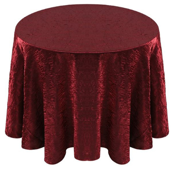 Shimmer Crush Fabric Tablecloth Linen-Burgundy Black