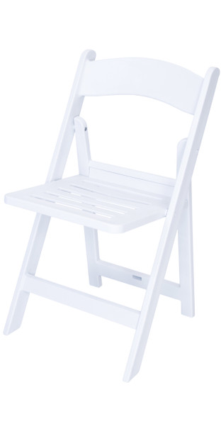 Classic Series White Slatted Resin Folding Chair