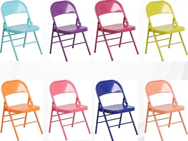 Hercules Colorburst Series Triple Braced U0026 Double Hinged Metal Folding Chair  ...