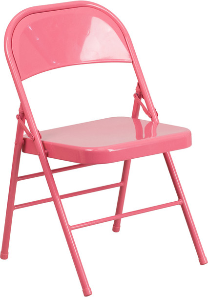 Hercules Colorburst Series-Triple Braced & Double Hinged Metal Folding Chair-Pink