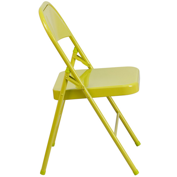 Hercules Colorburst Series-Triple Braced & Double Hinged Metal Folding Chair-Citron