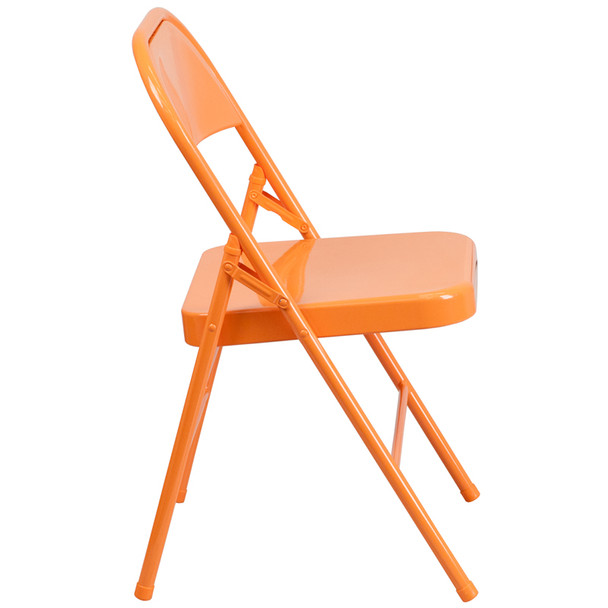 Hercules Colorburst Series-Triple Braced & Double Hinged Metal Folding Chair-Orange