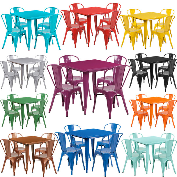 """Indoor/Outdoor Cafe Metal 5 Piece set- 31.5"""" Square Table set with 4 Stack Chairs"""