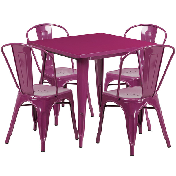 """Indoor/Outdoor Cafe Metal 5 Piece set- 31.5"""" Square Table set with 4 Stack Chairs-Purple"""