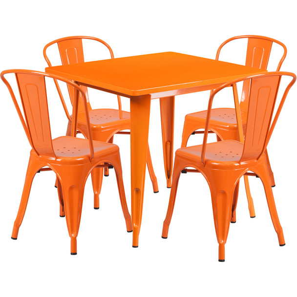 """Indoor/Outdoor Cafe Metal 5 Piece set- 31.5"""" Square Table set with 4 Stack Chairs-Orange"""