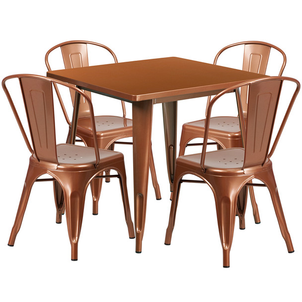 """Indoor/Outdoor Cafe Metal 5 Piece set- 31.5"""" Square Table set with 4 Stack Chairs-Copper"""