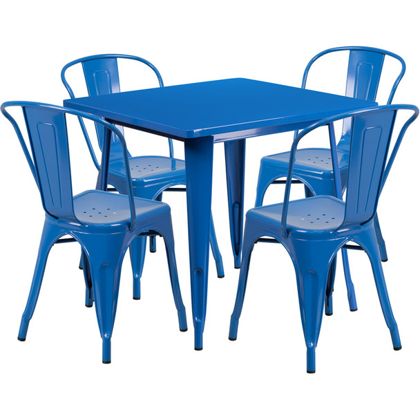 """Indoor/Outdoor Cafe Metal 5 Piece set- 31.5"""" Square Table set with 4 Stack Chairs-Blue"""