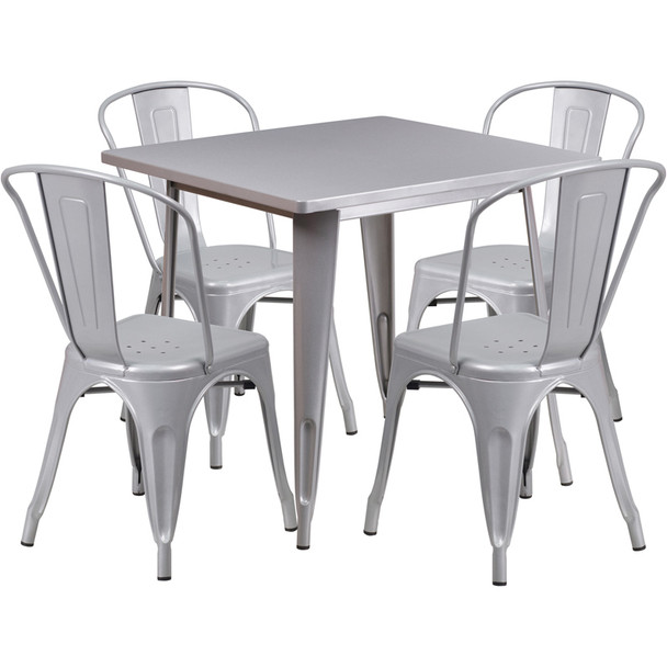 """Indoor/Outdoor Cafe Metal 5 Piece set- 31.5"""" Square Table set with 4 Stack Chairs-Silver"""