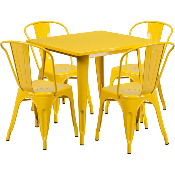 """Indoor/Outdoor Cafe Metal 5 Piece set- 31.5"""" Square Table set with 4 Stack Chairs-Yellow"""