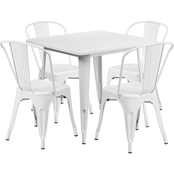 """Indoor/Outdoor Cafe Metal 5 Piece set- 31.5"""" Square Table set with 4 Stack Chairs-White"""