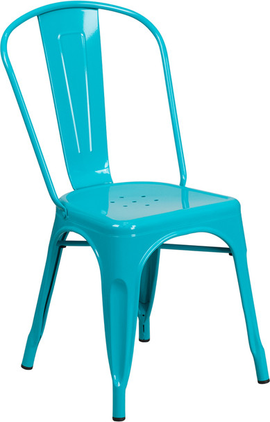 """Indoor/Outdoor Cafe Metal 5 Piece set- 31.5"""" Square Table set with 4 Stack Chairs-Crystal Teal Chair"""