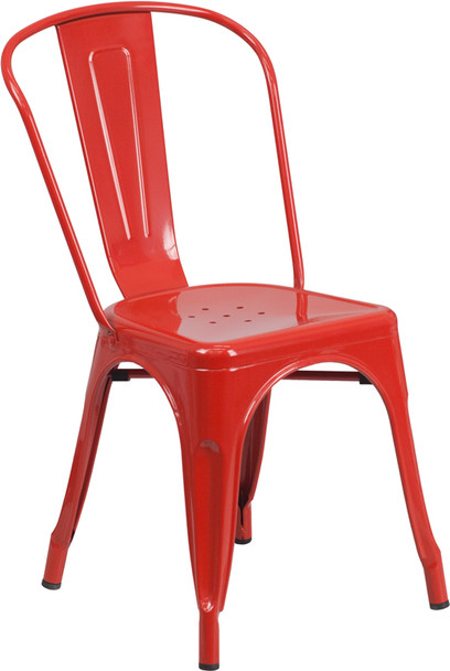 """Indoor/Outdoor Cafe Metal 5 Piece set- 31.5"""" Square Table set with 4 Stack Chairs-Red Chair"""