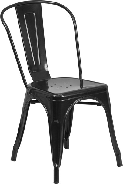 """Indoor/Outdoor Cafe Metal 5 Piece set- 31.5"""" Square Table set with 4 Stack Chairs-Black Chair"""